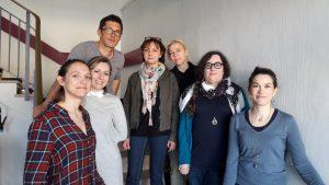 De gauche à droite : Dr Nicole Minguet, Johanna Bal, Christophe Chazel, Cathy Ruiz, Hélène Schoumacher, Marie-Dominique Castellani, Valentine Drieux